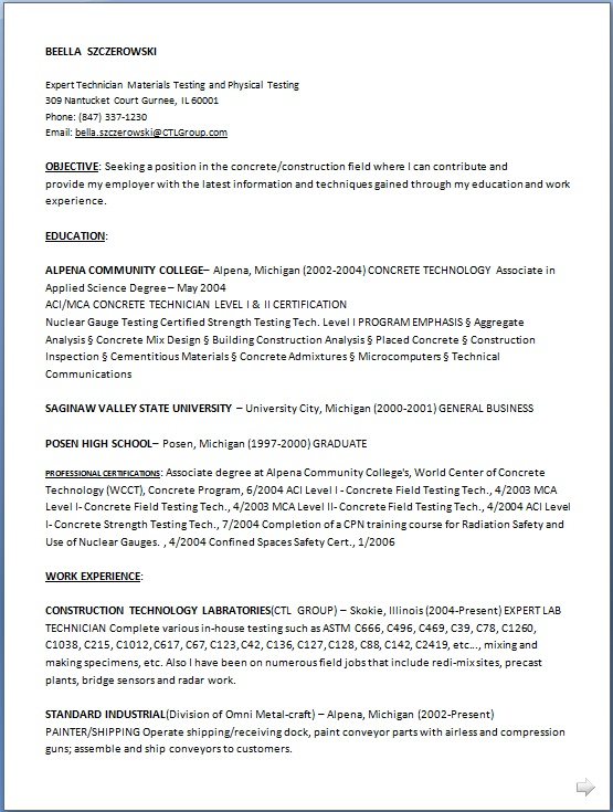 Construction Technology Resume Format in Word Free Download
