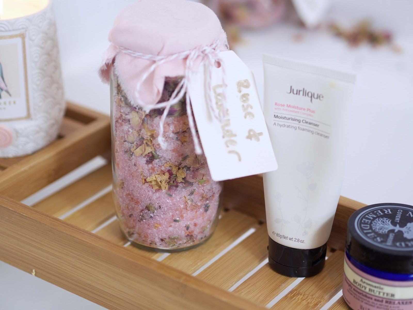 bathroom bath salts with rose and lavender jurlique