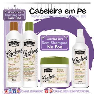 Shampoo (Low Poo), Condicionador (No Poo), Máscara (No Poo) e Ativador de Cachos (No Poo) Yamasterol Cachos Coco