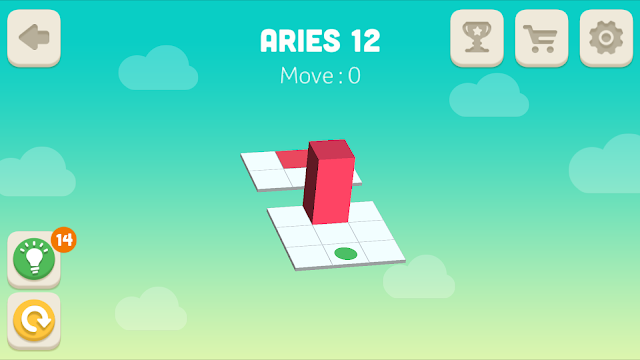 Bloxorz Aries Level 12 step by step 3 stars Walkthrough, Cheats, Solution for android, iphone, ipad and ipod