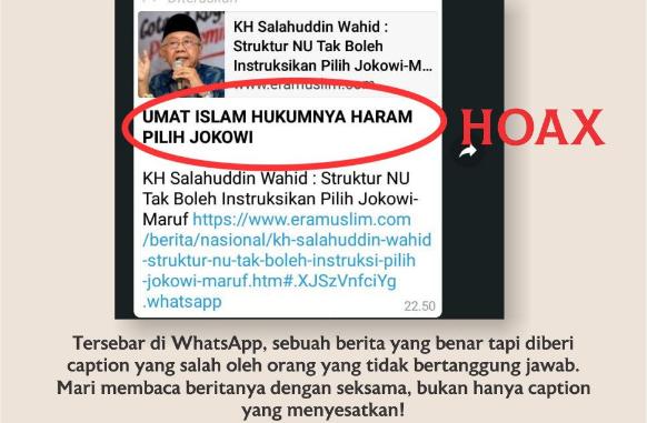 Beredar Hoax yang Catut Gus Sholah Disertai Tulisan 'Umat Islam Hukumnya Haram Pilih Jokowi'