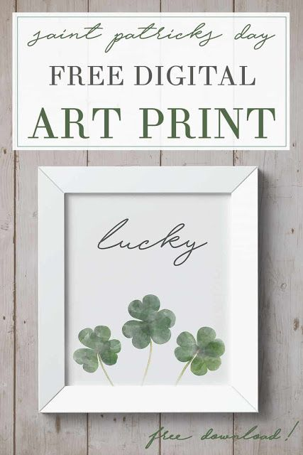FREE St. Patrick's day art print shamrocks