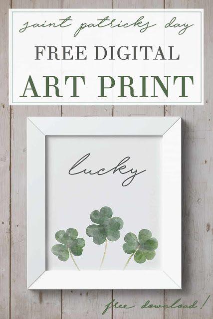 FREE St. Patrick's day art print shamrocks