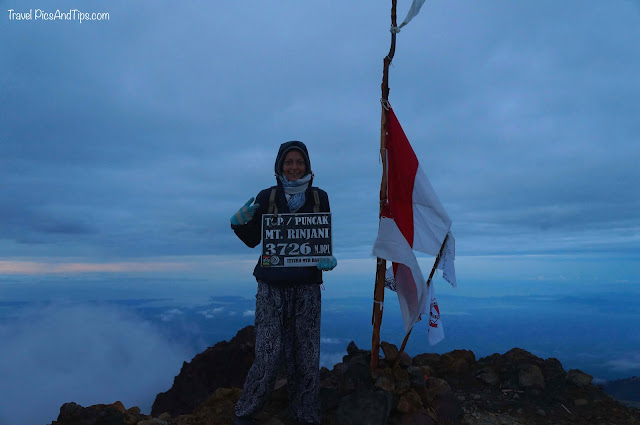 Trekking mount Rinjani Indonesia, reach the summit, sunrise