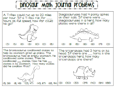 learning with a happy heart math journal monday dinosaur word problems. Black Bedroom Furniture Sets. Home Design Ideas