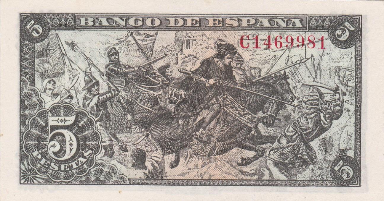 Spain money currency 5 Pesetas banknote 1945 King Ferdinand Battle with Moors 1492 Granada