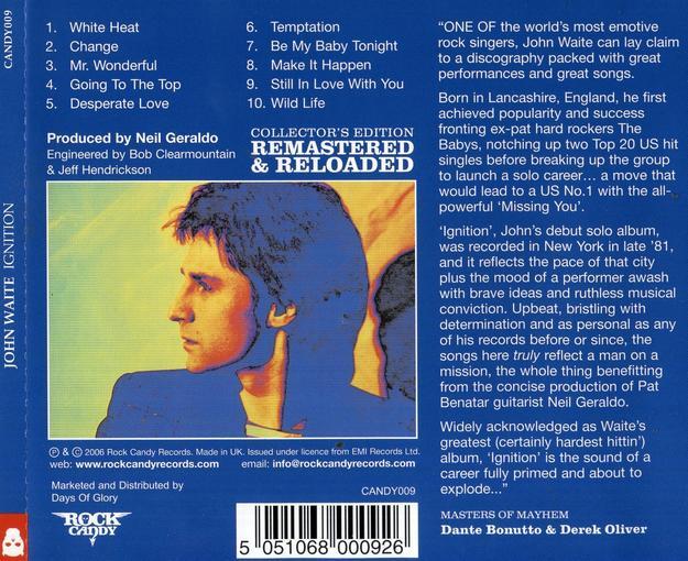JOHN WAITE - Ignition [Rock Candy remastered] back