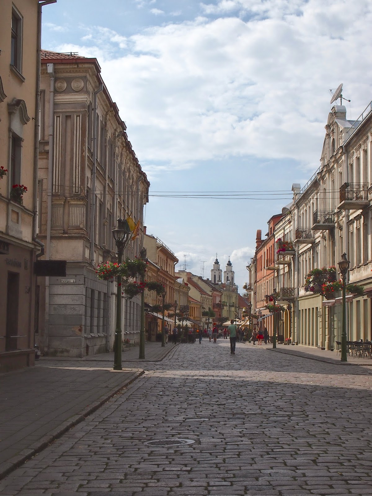 The cobblestone streets of the Kaunas Old Town