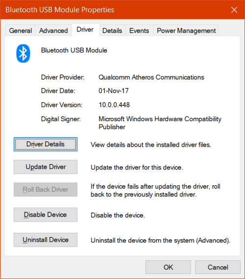Windows 10 Bluetooth driver publishing date