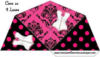 Conos=Cucuruchos para Imprimir Gratis de Lencería en Rosa.
