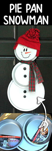 A simple snowman made of pie plates, cake pans and pizza pans.  So quick and easy. Perfect on the front door!