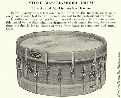 Geo B. Stone & Son Master-Model Drum, Catalog K - 1925