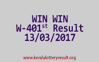WIN WIN Lottery W 401 Results 13-3-2017