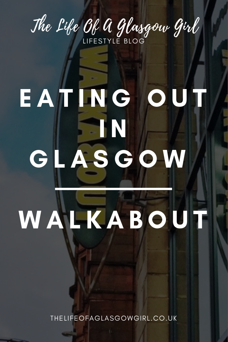 Pinterest graphic for blog post on Walkabout in Glasgow city centre. A close up of the walkabout sign outside of the building