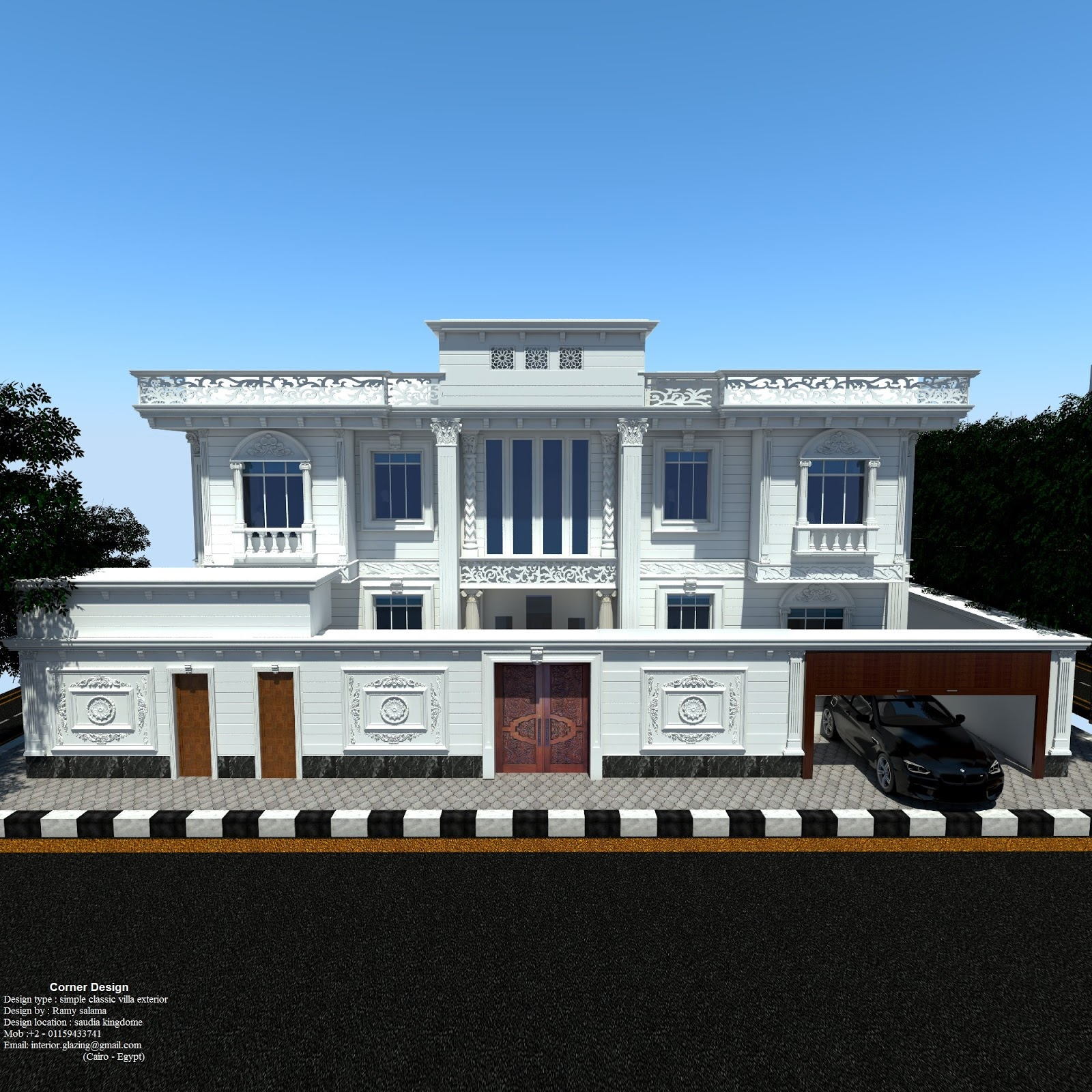 Corner design simple classic villa exterior design for Classic villa exterior design
