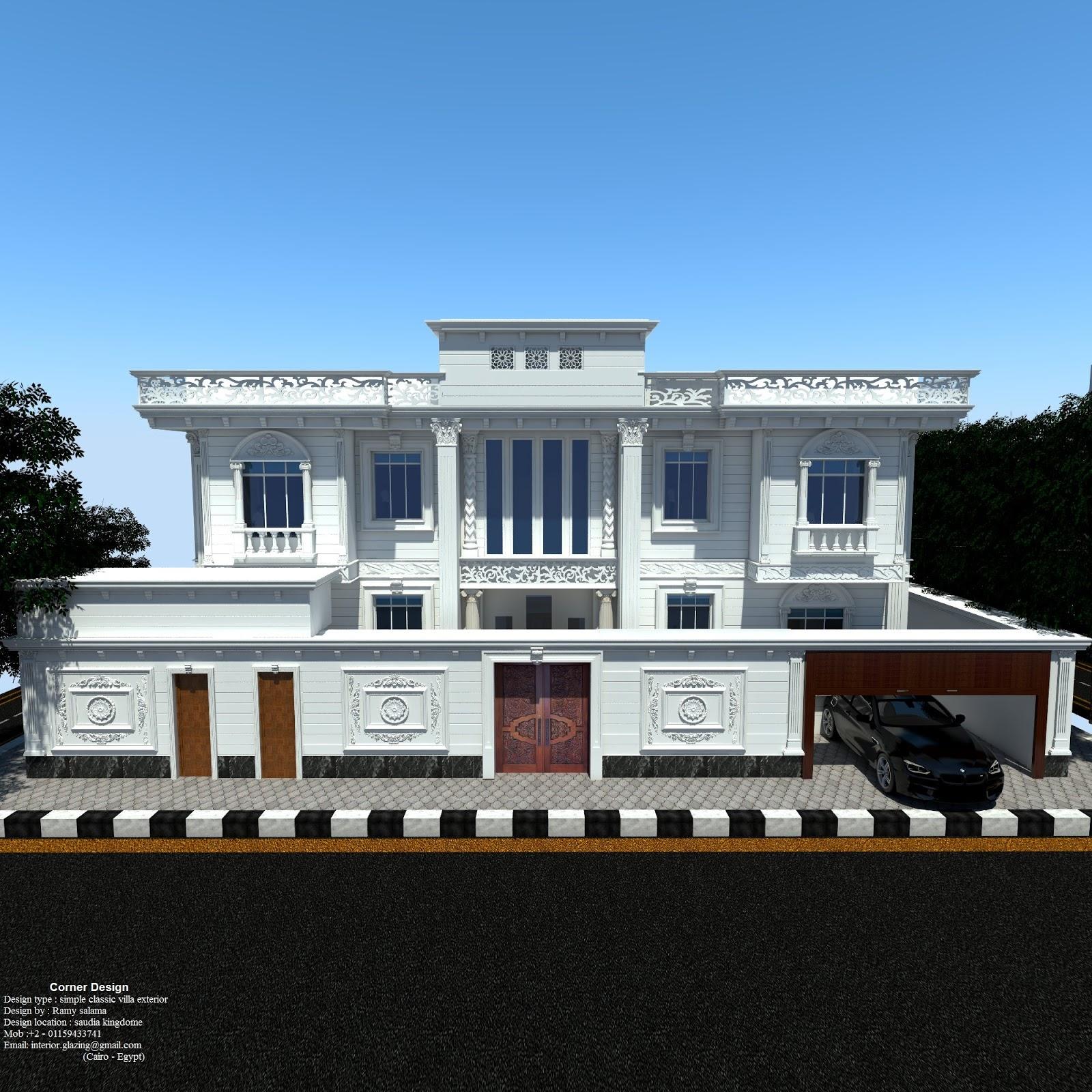 Corner design simple classic villa exterior design for Classic villa design