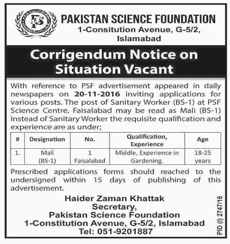 Pakistan Science Foundation Jobs in Islamabad
