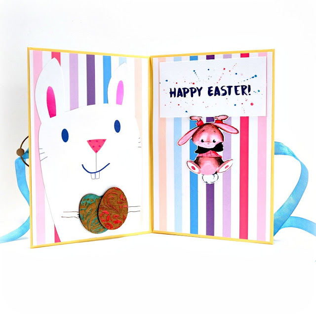 Happy Easter Greeting Card Mini Album Bunny and Decorated Eggs Pages 3 and 4