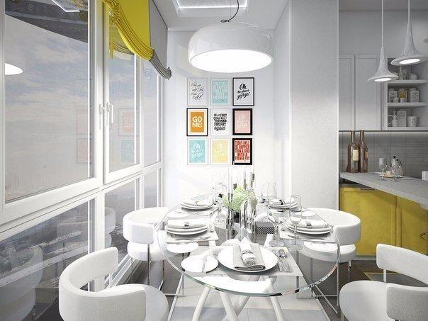 объединение балкона с кухней дизайн