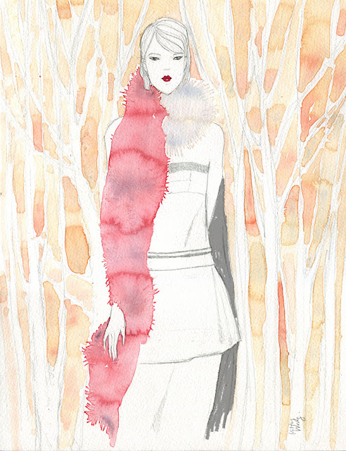 Marni fur scarf in forest watercolour illustration painting