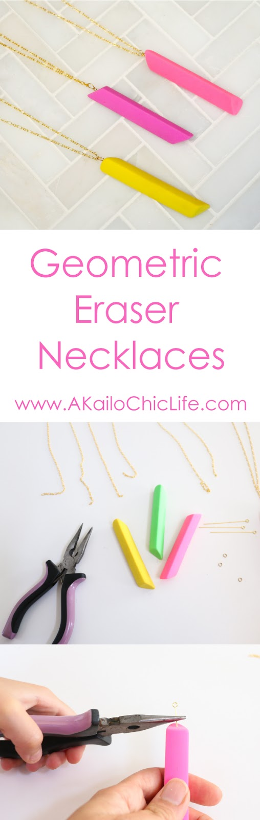 Learn to craft necklaces out of colorful erasers. Easy Jewelry making tutorial, back to school, teacher appreciation gift ideas