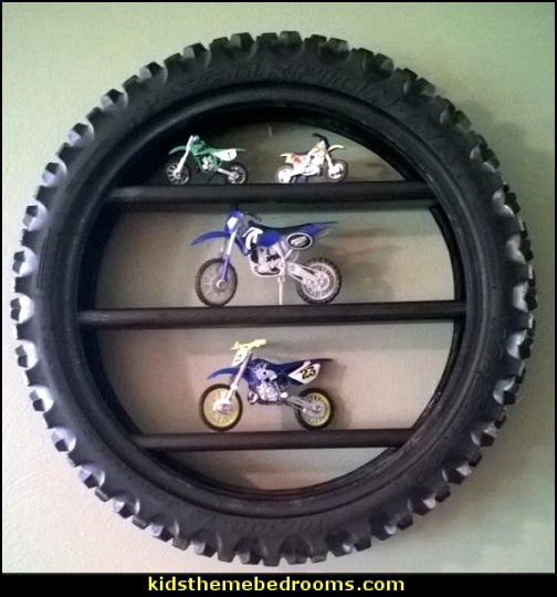 Tire display shelf   Motocross bedroom ideas - Dirt bike room decor - Dirt bike wall art - Motocross bedding - flame theme decorating ideas - dirt bike room stuff - dirt bike themed rooms - motocross room decor -
