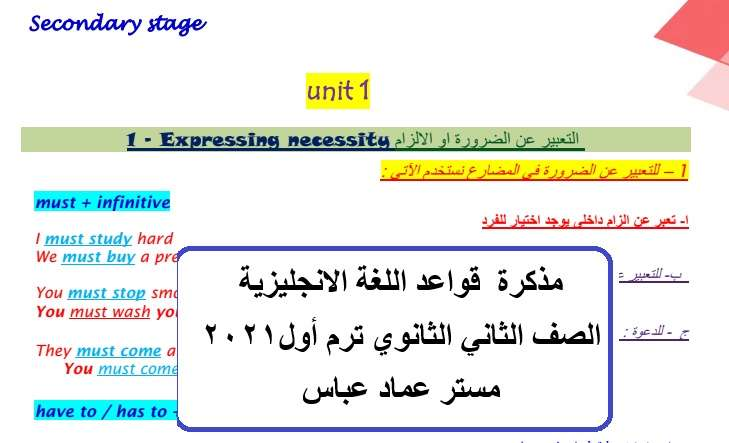 مذكرة  قواعد اللغة الانجليزية الصف الثاني الثانوي ترم أول2021  مستر عماد عباس