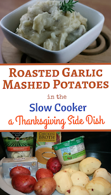 Garlic and potatoes roast at the same time in the slow cooker and then get mashed together with chicken broth to make a robust and flavorful mashed potato side dish. Definitely company worthy!