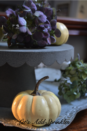 dried hydrangeas, pumpkin on a gray tray with