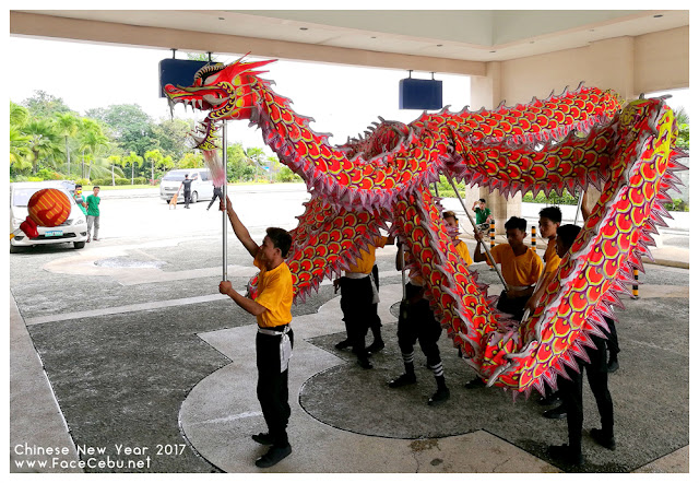 Dragon Dance at the main entrance of Waterfront Airport Hotel and Casino