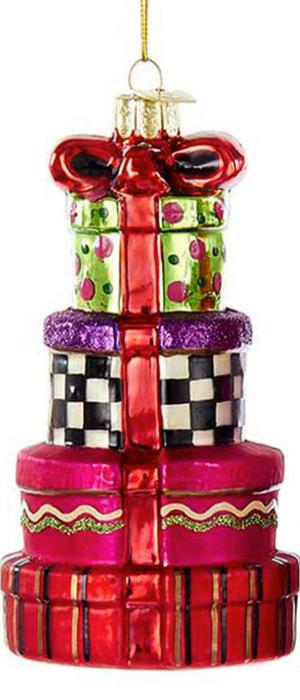Kurt Adler Noble Gems Stacked Presents Glass Ornaments