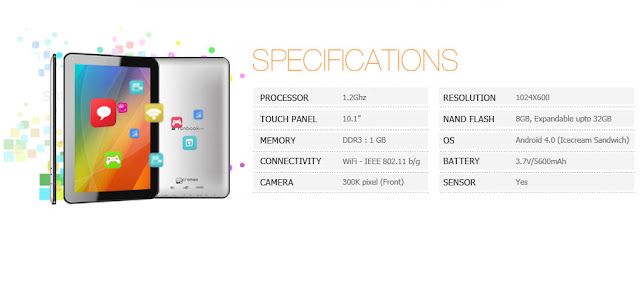 Micromax Funbook pro Specifications