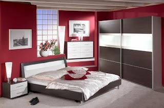 dormitorio rojo blanco negro