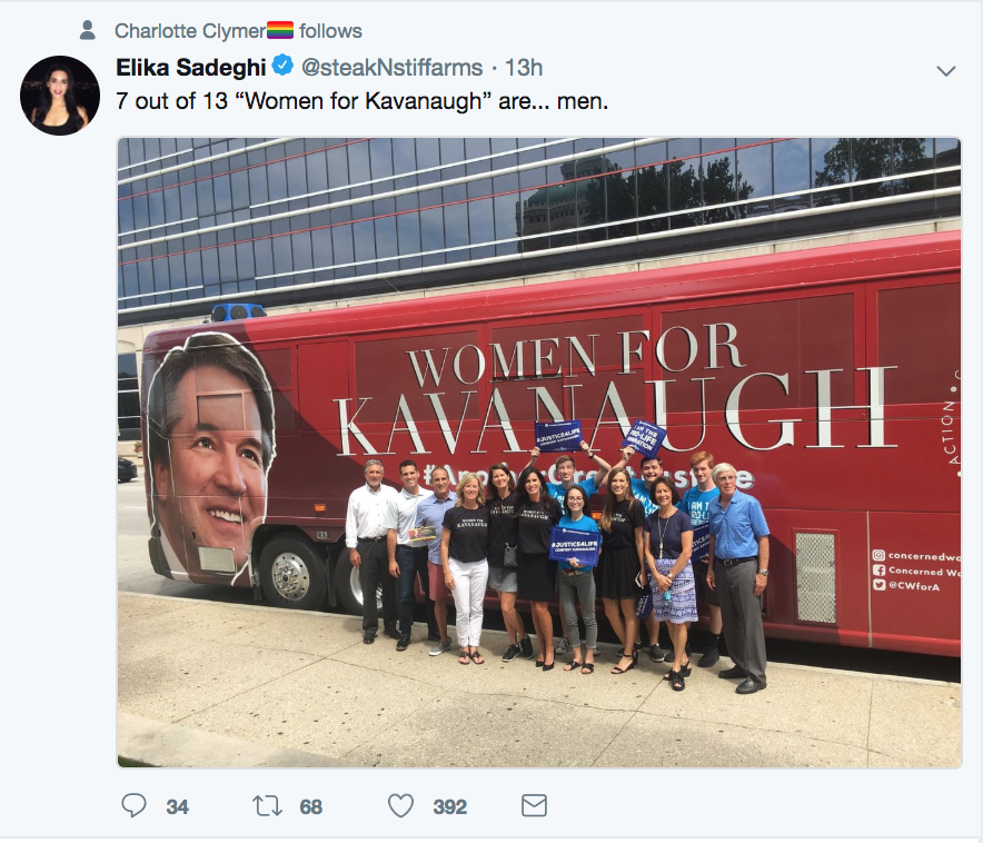 @steakNstiffarms 7 out of 13 women for Kavanaugh are men