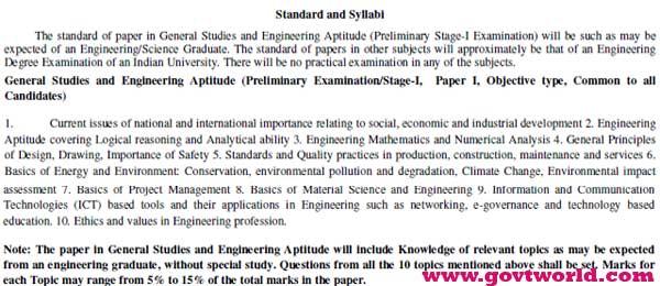 UPSC ESE Syllabus 2017