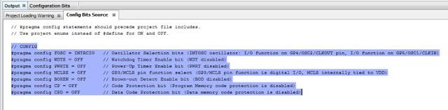MPLab X PIC12F675 configuration bits