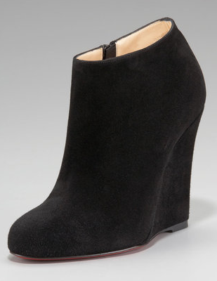 9028973397b8 Look for Less  Christian Louboutin Bella Zeppa Suede Wedge Bootie ...