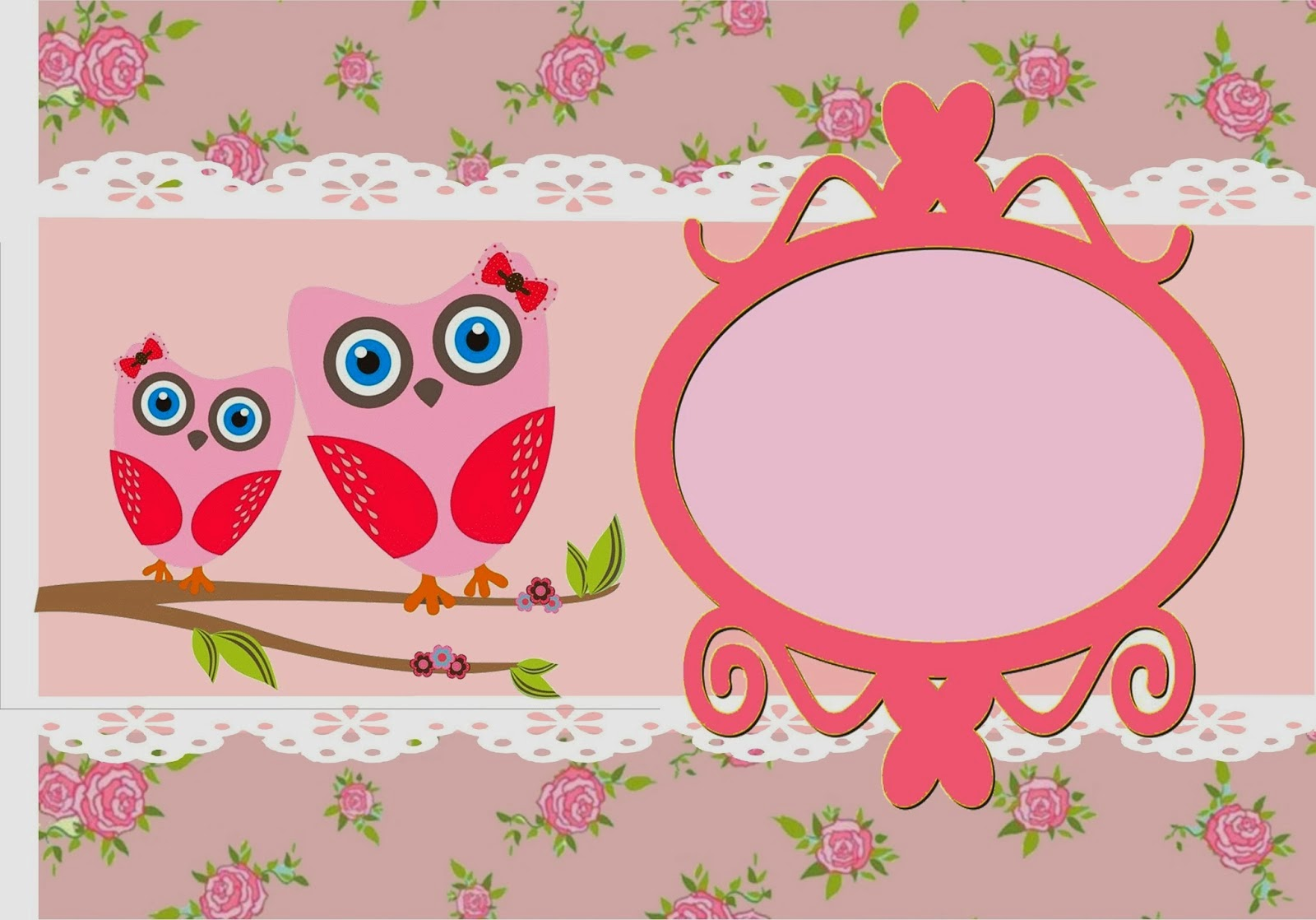 Owl with Roses Free Printable Labels.