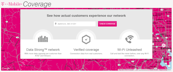 T-Mobile's customer verified coverage