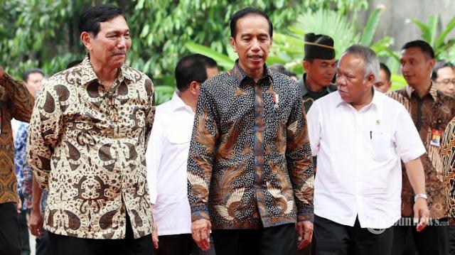 Presiden Jokowi, Luhut Binsar Panjaitan, dan Basuki Hadimuljono.