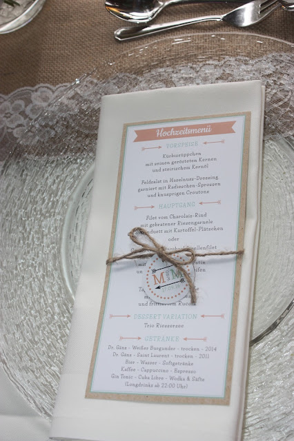 Menükarten Hochzeitsmotto aus M wird M, Pastell und Vintage im Riessersee Hotel Garmisch-Partenkirchen, Bayern
