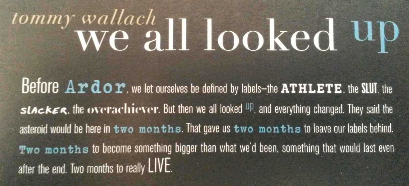 We All Looked Up - back cover of ARC