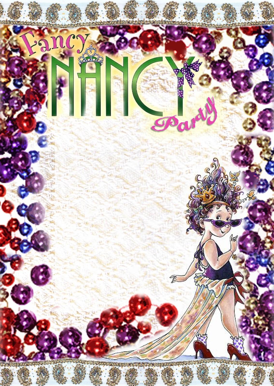 free kids party invitations  fancy nancy printable