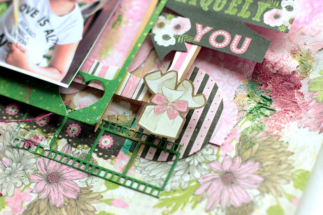 Uniquely You Scrapbook Page by Elena Olinevich using BoBunny Sweet Moments Collection