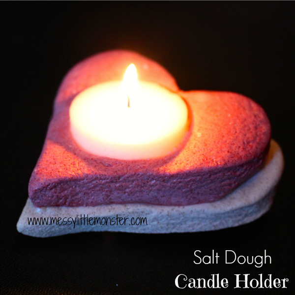 Salt dough candle holder craft. An easy heart craft for kids using a coloured salt dough recipe. Great DIY gift idea to be made by preschoolers upwards.