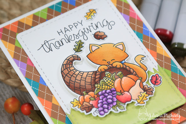 Happy Thanksgiving Card by Juliana Michaels featuring Newton's Nook Designs Newton's Cornucopia Stamp Set