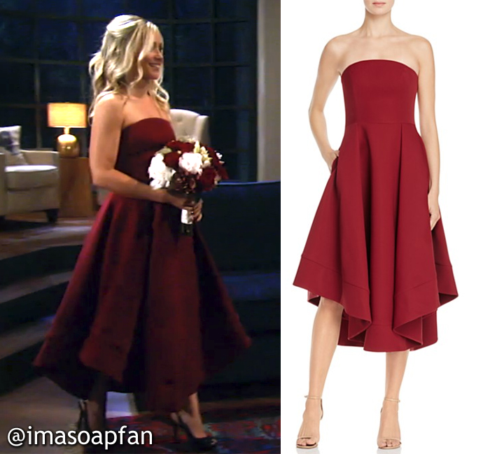 Lulu Spencer, Emme Rylan, General Hospital, GH, Burgundy Strapless Dress, Wedding