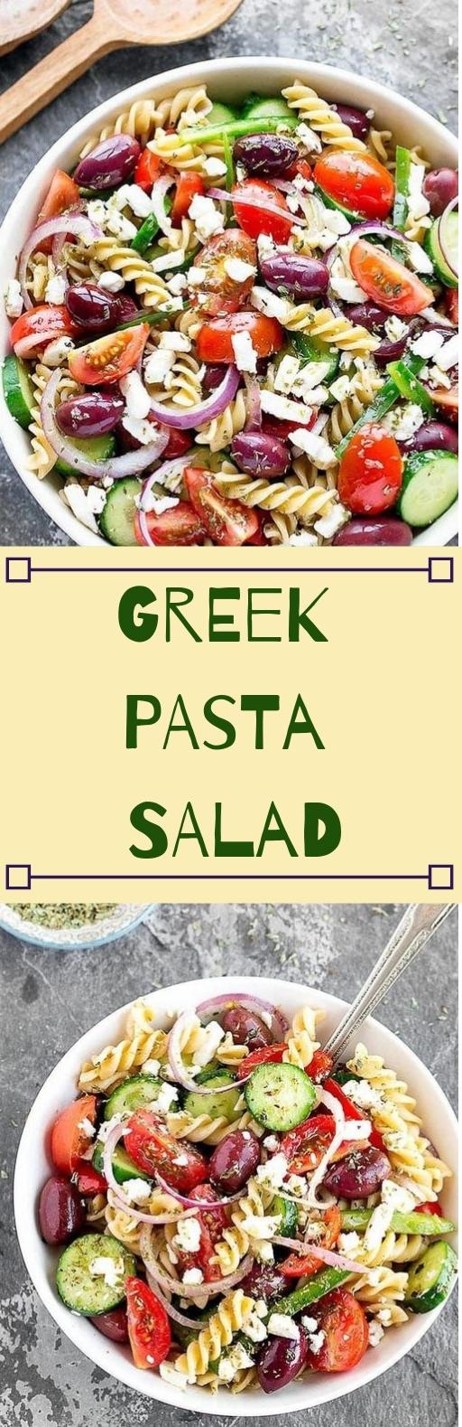 EASY GREEK PASTA SALAD #salad #healthy