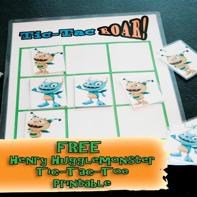 Free Henry Hugglemonster Tic Tac Toe Printables. Great toddler activity from LoveOurDisney.com
