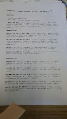 Ordem do Dia da Câmara de Manoel Viana...